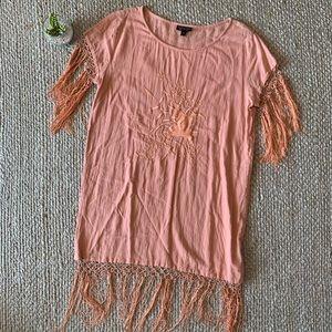 TopShop Coral Pink Embroidered Fringe Boho Tunic